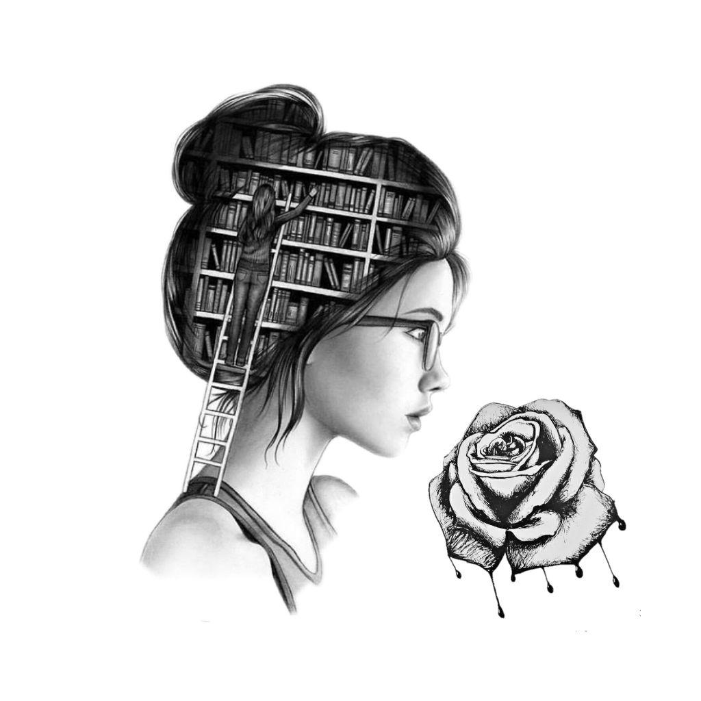 Freetoedit girl woman books ladder rose drawing glasses