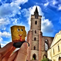 interesting art spongebob church view freetoedit