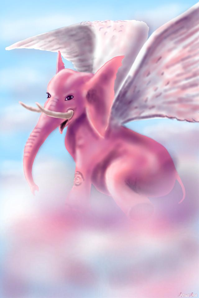 #wdpflyingelephants #mydrawing #noreference #pinkelephant #fantasy