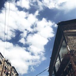 sky yerevan armenia blue buildings freetoedit