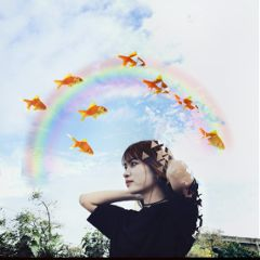 freetoedit dispersion flyingfish girl sky
