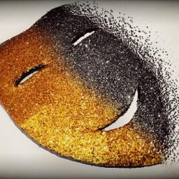 freetoedit glitter mask black gold