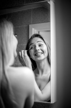 blackandwhite mirror people smile lough