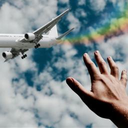 freetoedit plane sky rainbow ekc