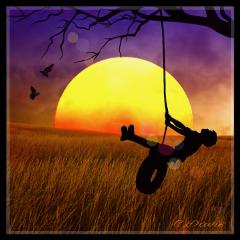 photocomposition myart childhood sunset