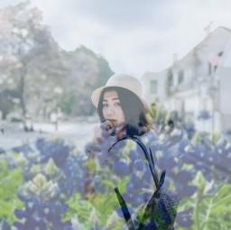 girl violet purple vegetation blue freetoedit
