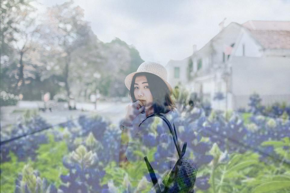 #girl #violet #purple #vegetation #blue #bleu