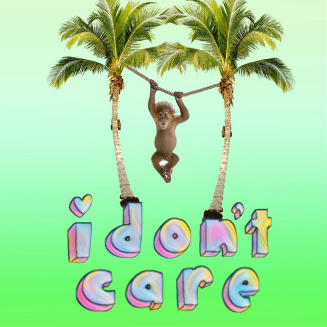 #FreeToEdit 'Monkey Doesn't Care' - HE JUST SWINGS BECAUSE HE CAN: This monkey doesn't really care for anything! He just wants to relax! #monkey #swinging #idontcare #palmtrees #humor