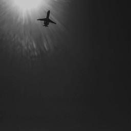 plane blackandwhite bnwphotography sky sun