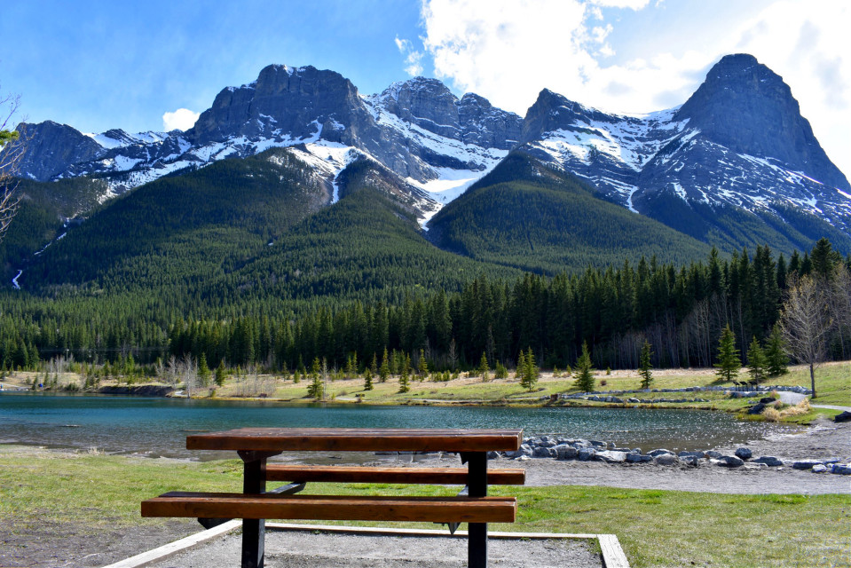 A nice day to go on a picnic - Quarry Park, Canmore  #dpcbenches #canmore #alberta #canada #spring #picnictable #rockymountains #travel